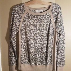 Loft gray and tan animal print sweater size small